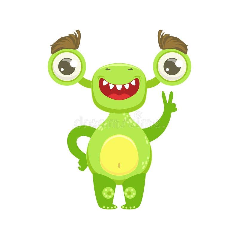 Monstre drôle souriant et montrant le geste de paix, autocollant vert de personnage de dessin animé d'Emoji d'étranger illustration stock