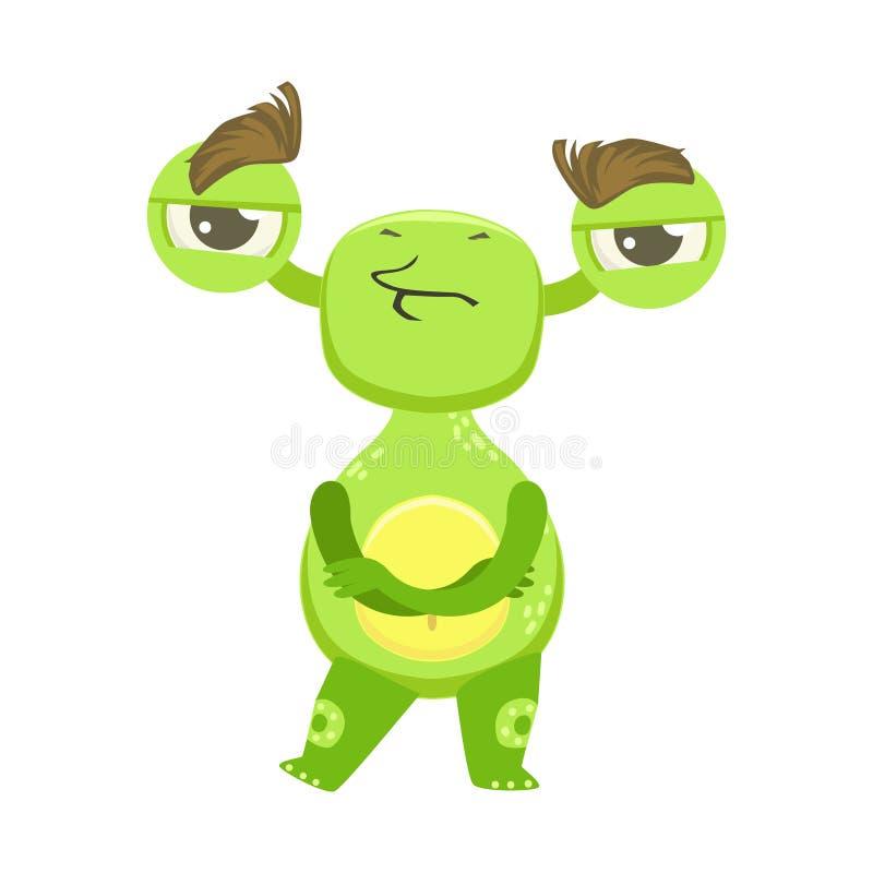 Monstre drôle têtu se tenant avec des bras croisés, autocollant vert de personnage de dessin animé d'Emoji d'étranger illustration stock