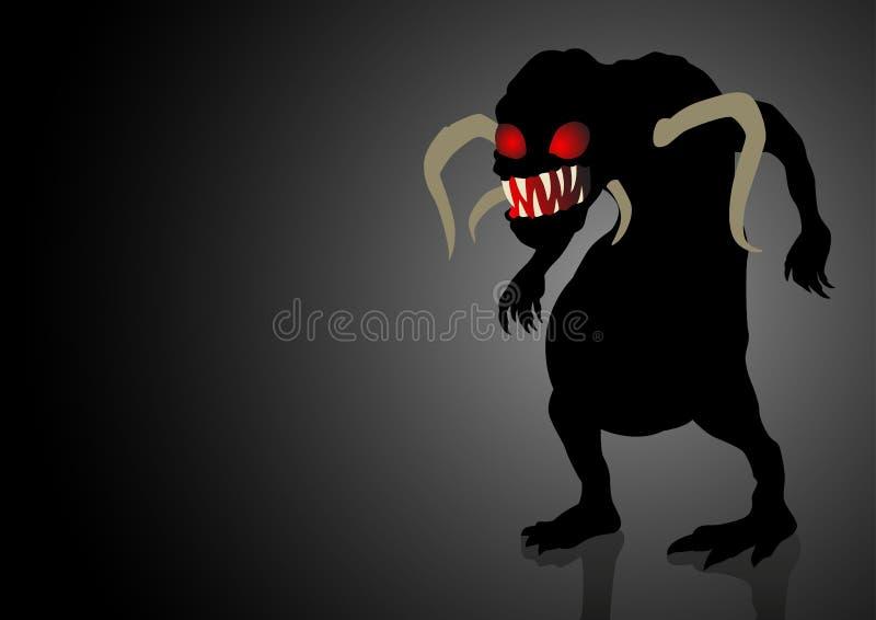 Monstre effrayant menaçant dans l'obscurité illustration stock