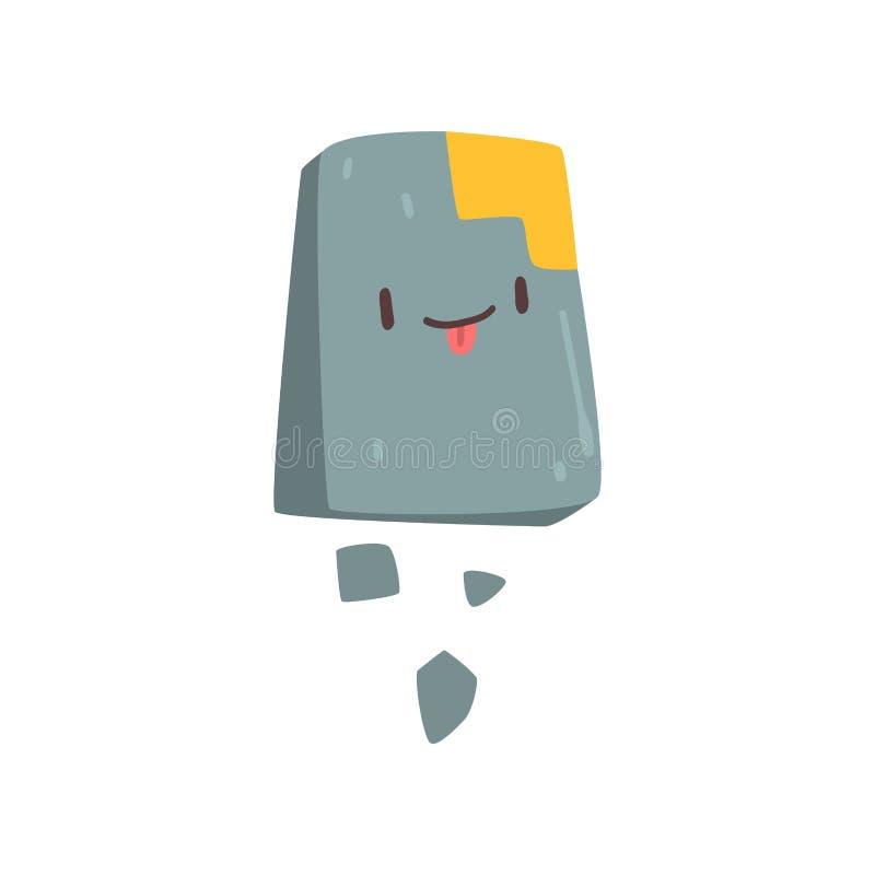 Monstre en pierre mignon, personnage de dessin animé étranger coloré de sourire avec l'illustration drôle de vecteur de visage illustration de vecteur