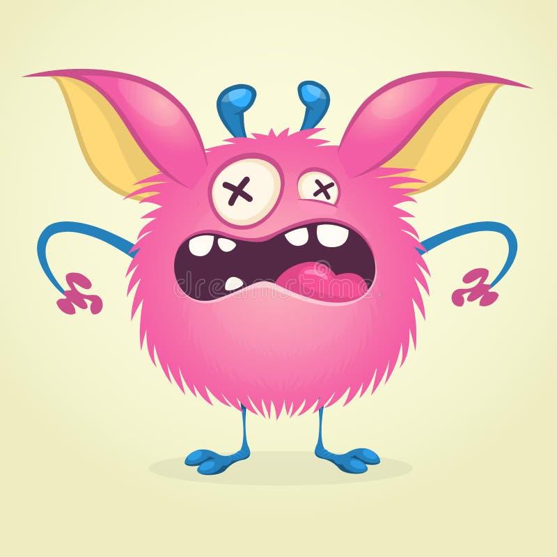 Monstre fâché de bande dessinée Dirigez le caractère rose velu de monstre sur les jambes minuscules et les grandes oreilles Conce illustration stock