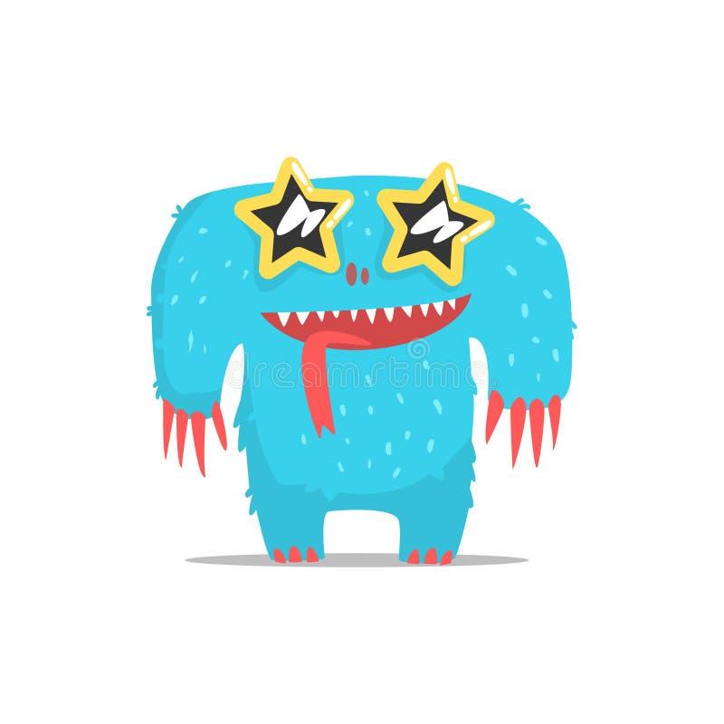 Monstre géant velu bleu heureux en verres foncés en forme d'étoile faisant la fête dur en tant qu'invité au vecteur snob fascinan illustration libre de droits