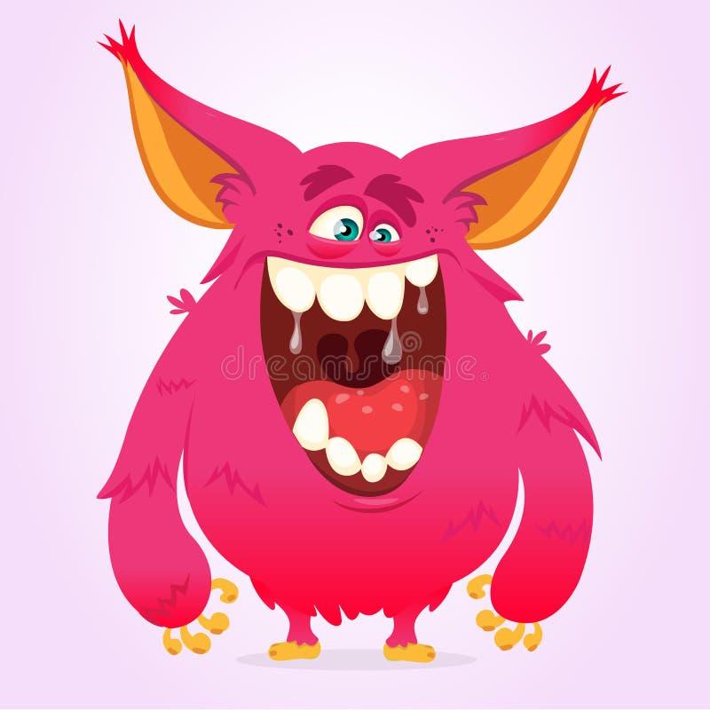 Monstre heureux de bande dessinée Monstre velu rose de Halloween de vecteur illustration stock