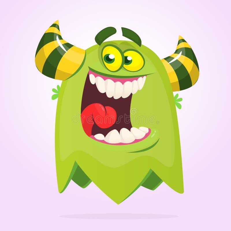 Monstre heureux drôle vert de bande dessinée Caractère vert d'étranger de vecteur Conception de Halloween illustration libre de droits