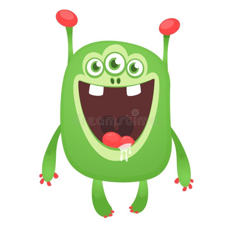 Monstre heureux drôle vert de bande dessinée Caractère vert d'étranger de vecteur Conception de Halloween illustration de vecteur