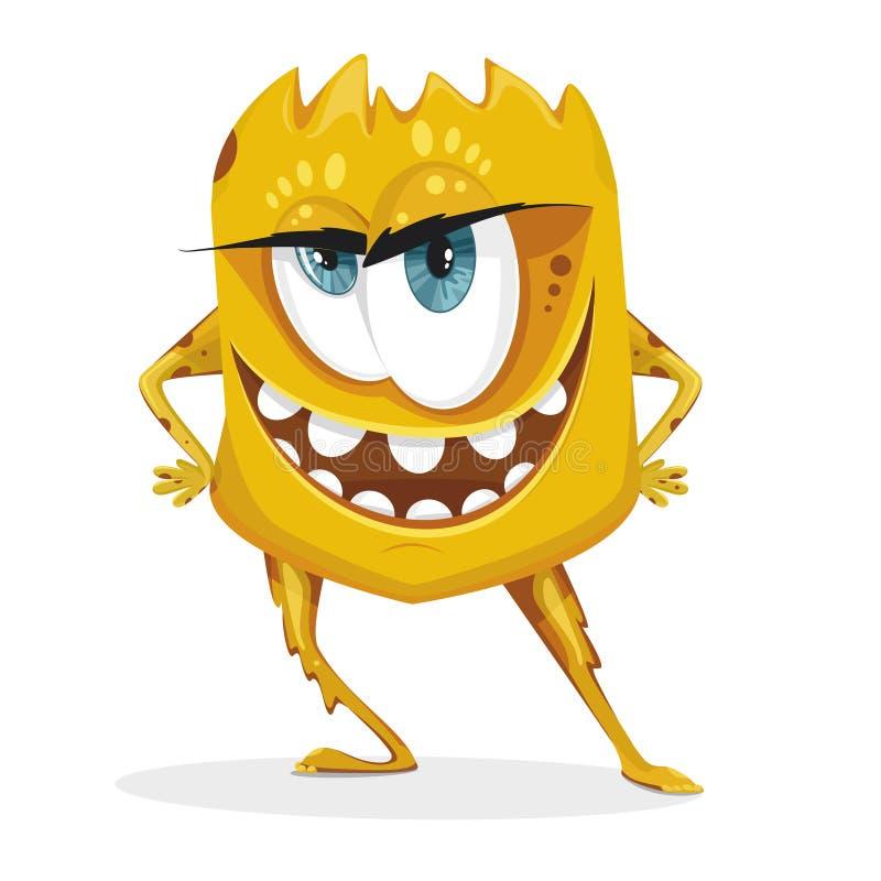 Monstre jaune de bande dessinée Bactéries avec de grands yeux, dents, mains, pieds Micro-organisme sur un fond blanc illustration stock