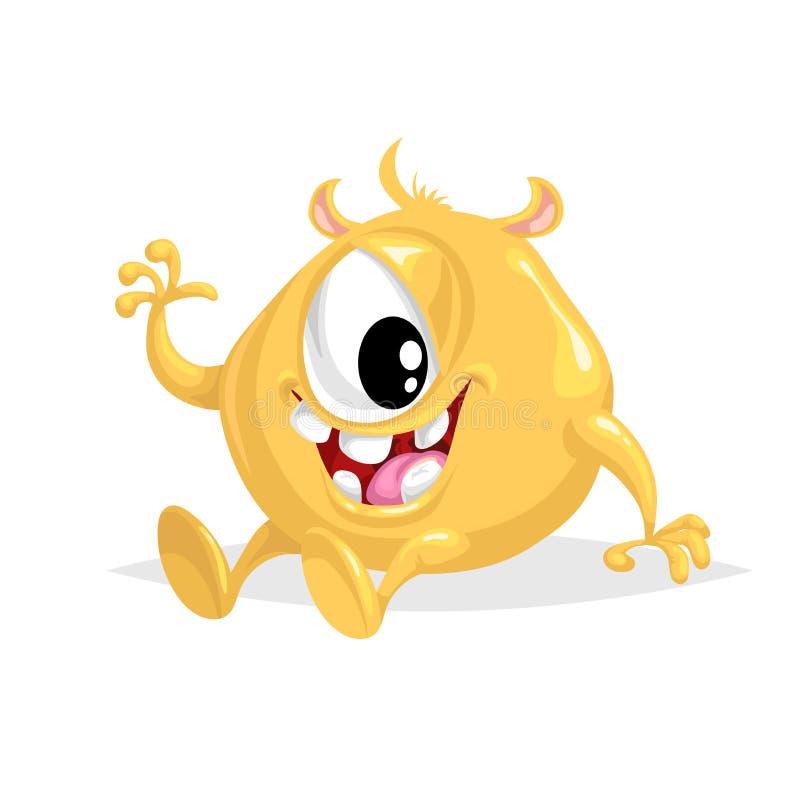 Monstre jaune sphérique gai de bande dessinée mignonne ondulation aux yeux simples de caractère comique Symbole de partie de Hall illustration de vecteur