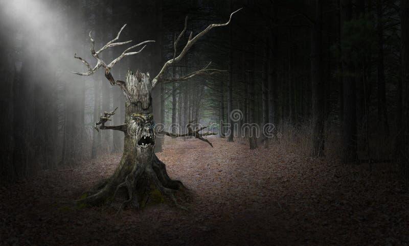 Monstre mauvais de Halloween d'arbre, fond, surréaliste image libre de droits