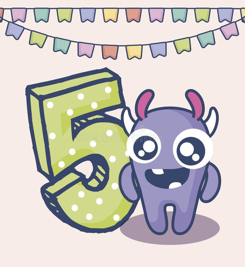 Monstre mignon avec la carte d'anniversaire du numéro cinq illustration libre de droits