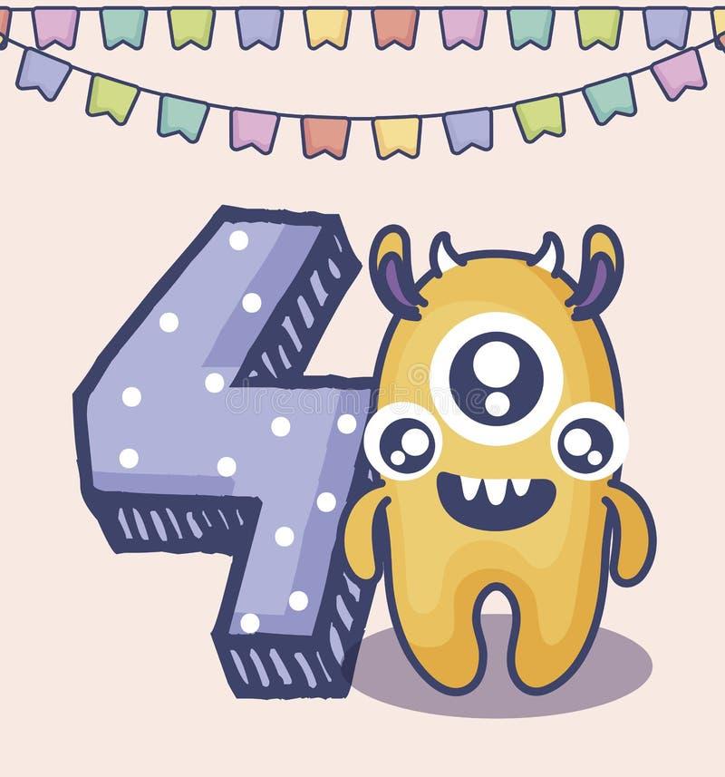 Monstre mignon avec la carte d'anniversaire du numéro quatre illustration de vecteur