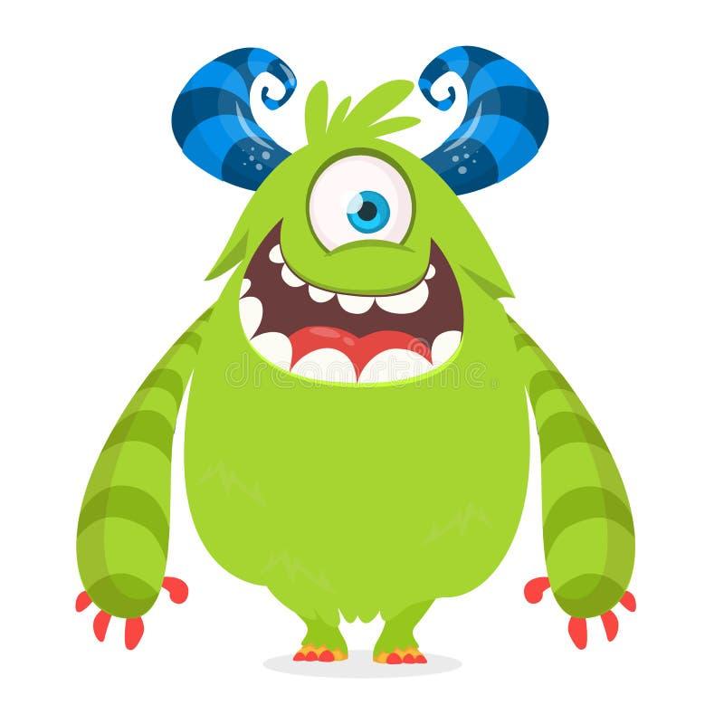 Monstre mignon de bande dessinée avec des klaxons avec un oeil Émotion de sourire de monstre avec la grande bouche Illustration d illustration stock