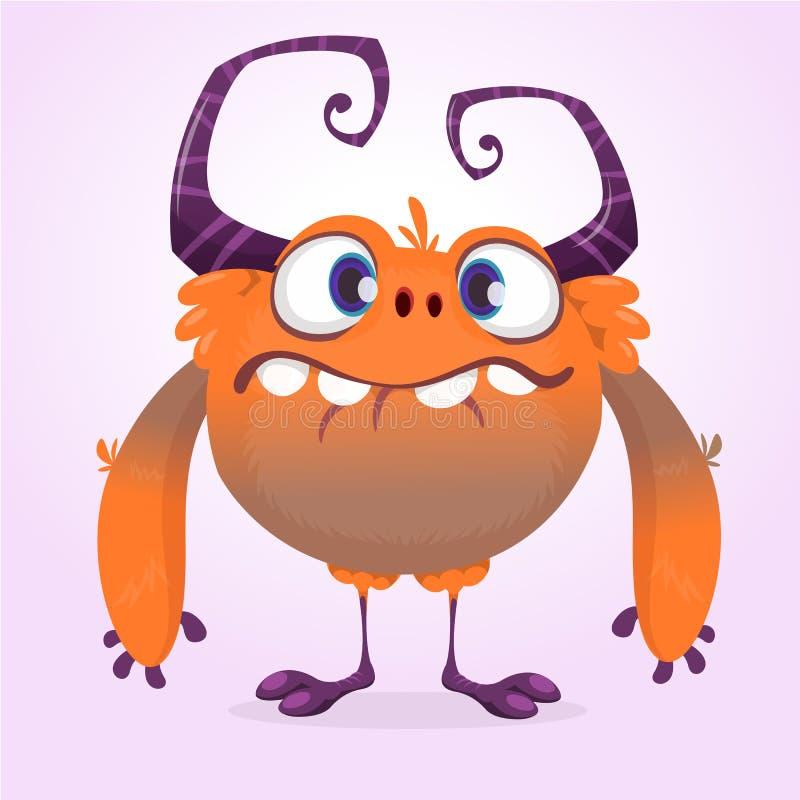 Monstre mignon de dessin animé Dirigez le caractère orange velu de monstre avec les jambes minuscules et les grands klaxons Conce illustration de vecteur