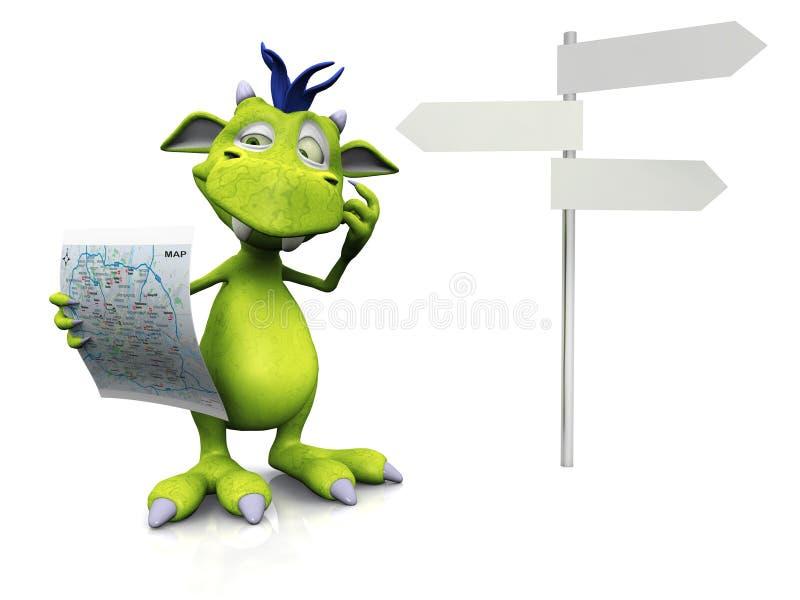 Monstre mignon de dessin animé retenant une carte. illustration stock
