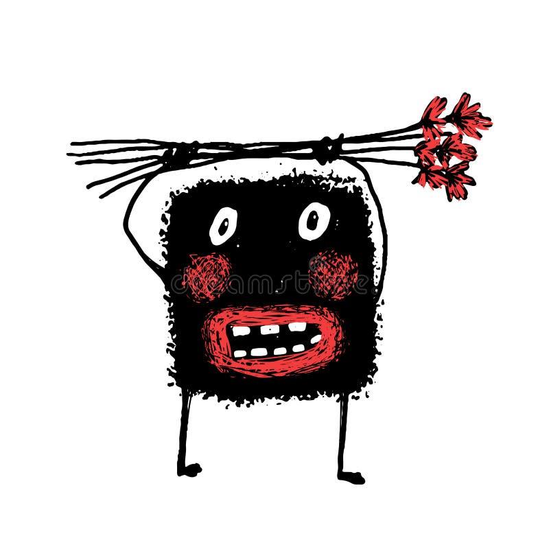 Monstre peu précis de griffonnage lunatique étonnant laid d'amusement de bande dessinée tenant des fleurs illustration de vecteur