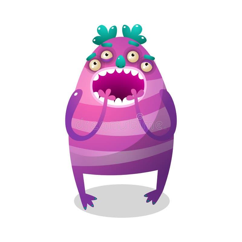 Monstre pourpre coloré mignon avec quatre yeux et jambes illustration stock