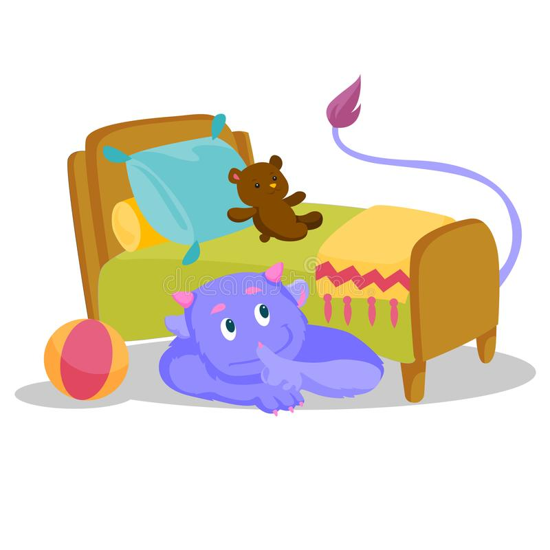 Monstre pourpre mignon avec la queue se cachant sous le lit illustration de vecteur