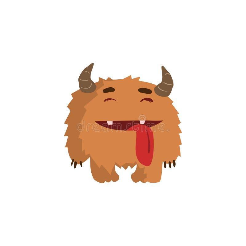Monstre puéril velu avec des klaxons illustration stock