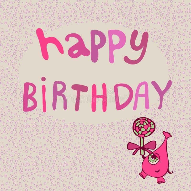 Monstre rose avec le joyeux anniversaire de sucrerie illustration de vecteur