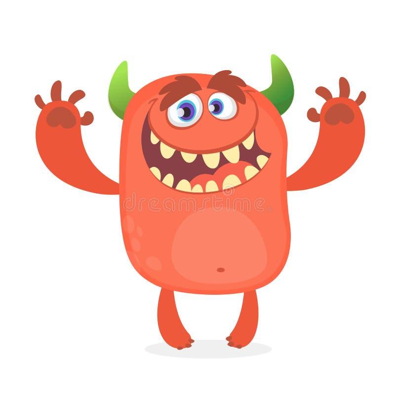 Monstre rouge velu mignon Caractère de troll de vecteur Conception pour le livre d'enfants, décoration de vacances illustration stock