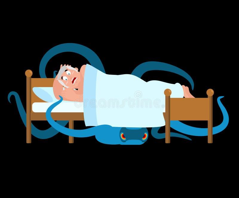 Monstre sous le bâti L'homme effrayé est endormi Illustration de vecteur illustration libre de droits