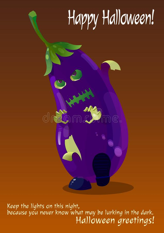 Monstre tiré bleu d'aubergine de zombi Halloween photos libres de droits