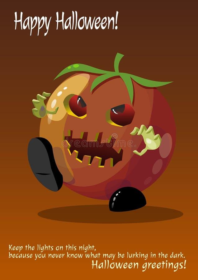 Monstre tiré rouge de tomate de zombi Halloween photographie stock libre de droits