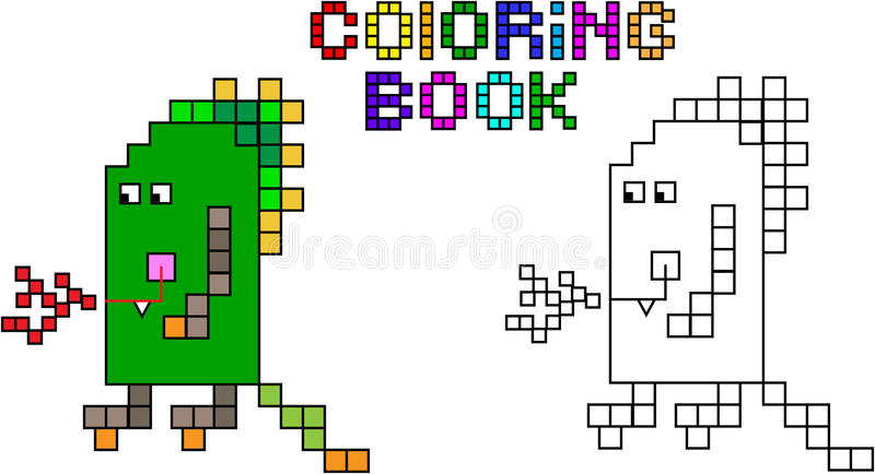 Monstre troisième de pixel de livre de coloriage illustration libre de droits