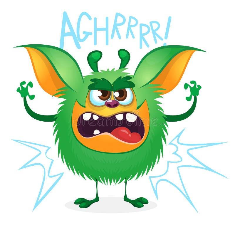 Monstre velu de vert fâché de bande dessinée Grande collection de monstres mignons pour Halloween Illustration de vecteur illustration libre de droits
