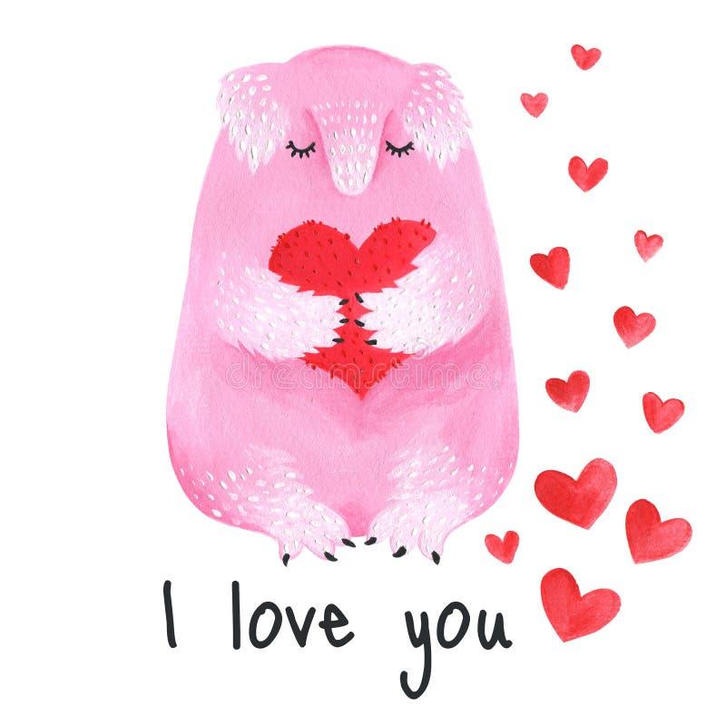 Monstre velu mignon tenant un coeur Carte postale au jour du ` s de Valentine Acrylique tiré par la main animal de rose illustration de vecteur