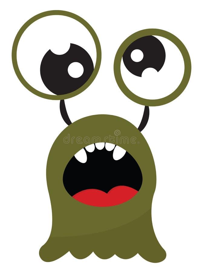 Monstre vert amusant avec une bouche ouverte exposant cinq dents blanches ovales vectorielles ou une illustration de couleur illustration libre de droits
