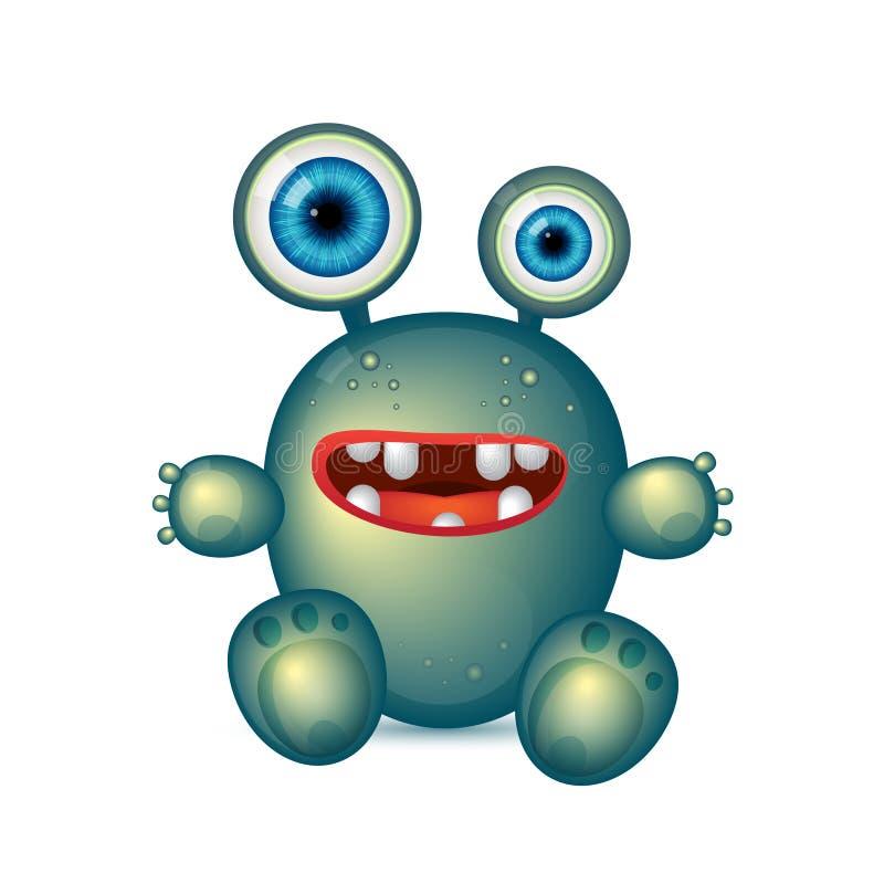 Monstre vert avec de grands yeux et bouche rouge Germe drôle de bande dessinée de vecteur, bactéries vertes illustration de vecteur