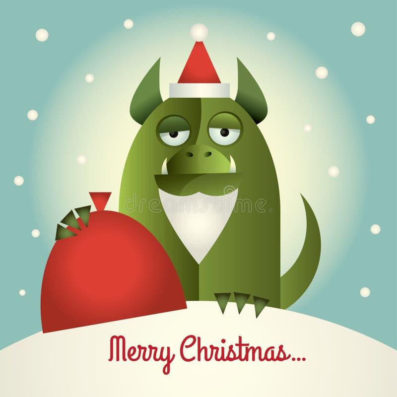 Monstre vert avec le Joyeux Noël de barbe illustration libre de droits