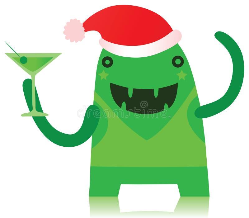Monstre vert dans l'équipement de Noël illustration de vecteur