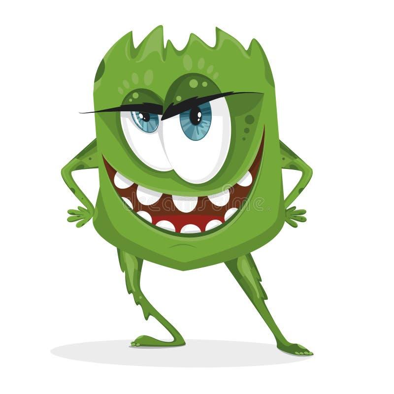 Monstre vert de bande dessinée Bactéries avec de grands yeux, dents, mains, pieds Micro-organisme sur un fond blanc illustration stock