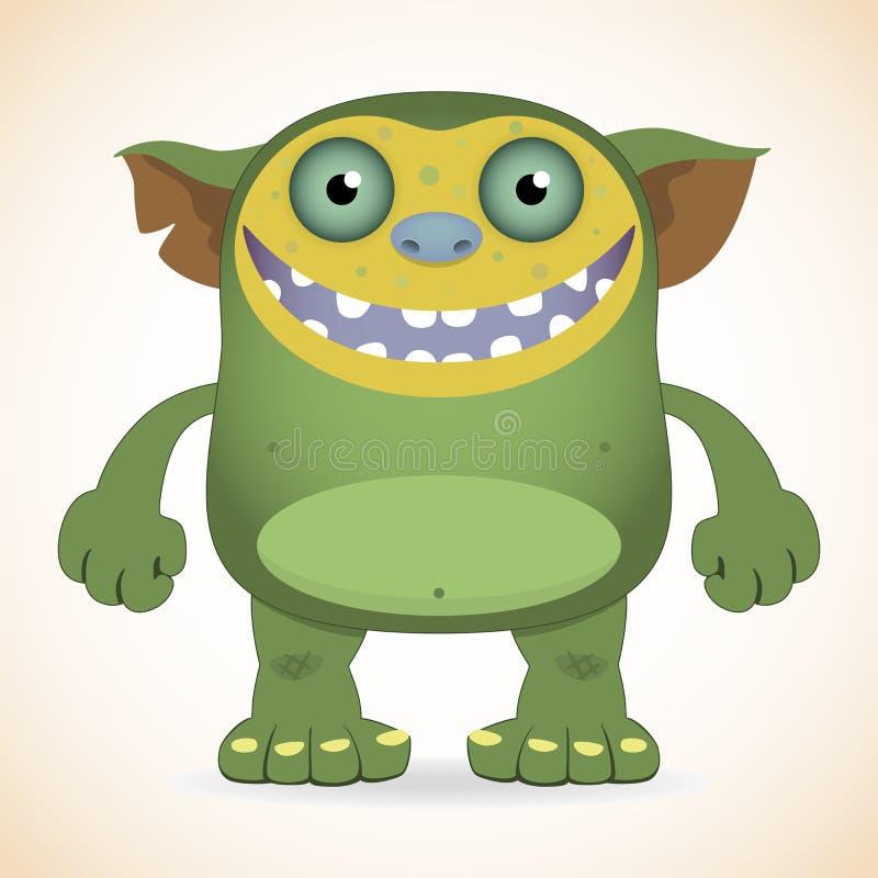 Monstre vert de sourire illustration de vecteur