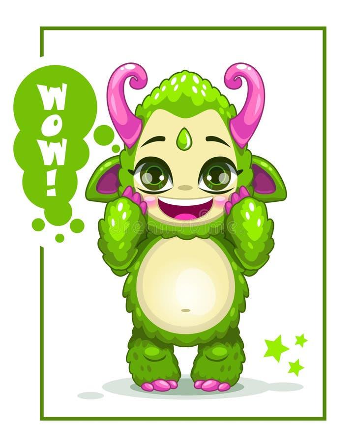 Monstre vert mignon de bande dessinée illustration stock