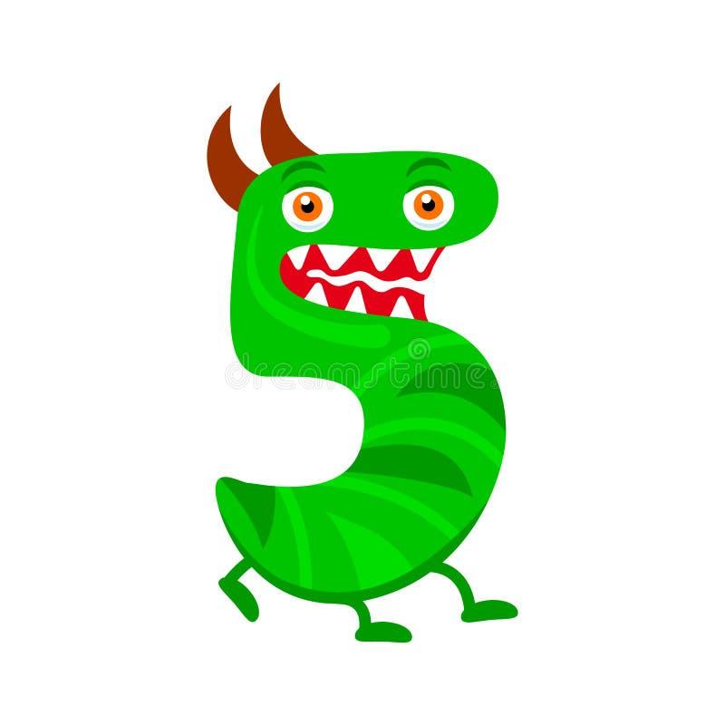 Monstre vert mignon numéro cinq de bande dessinée illustration libre de droits