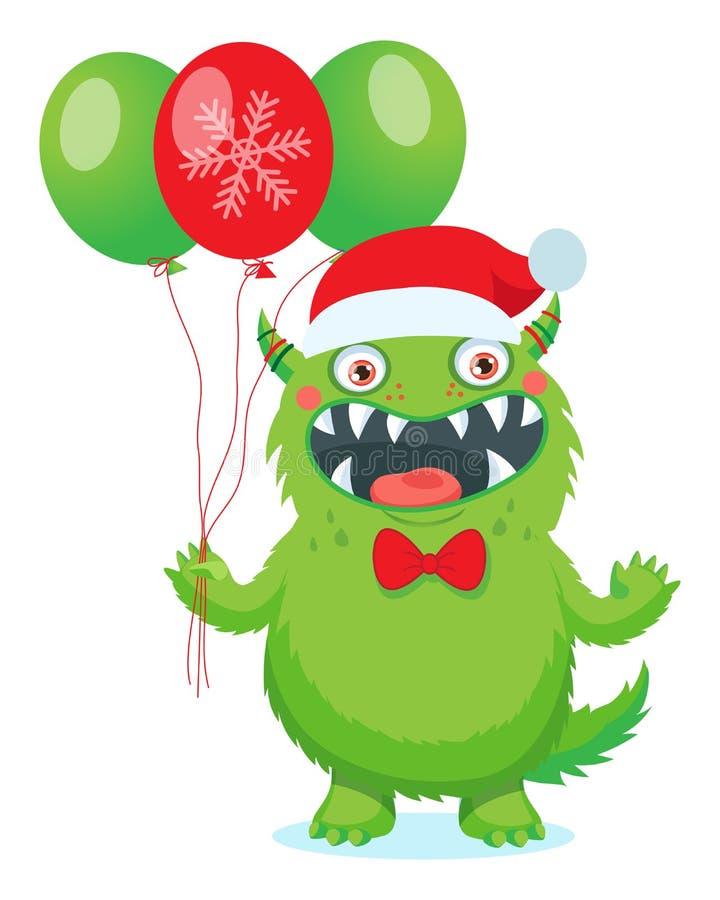 Monstres amicaux Vecteur vert drôle de monstre Thème de Noël avec le monstre mignon de Noël de bande dessinée illustration stock