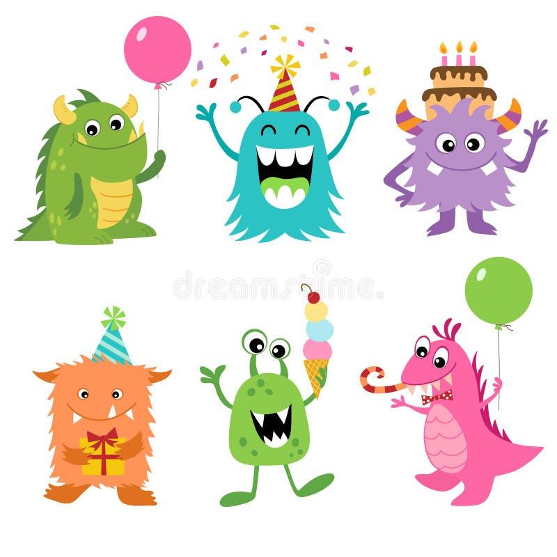 Monstres d'anniversaire illustration stock