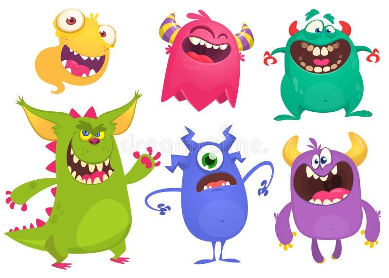 Monstres de bande dessinée Ensemble de vecteur de monstres de bande dessinée d'isolement illustration libre de droits