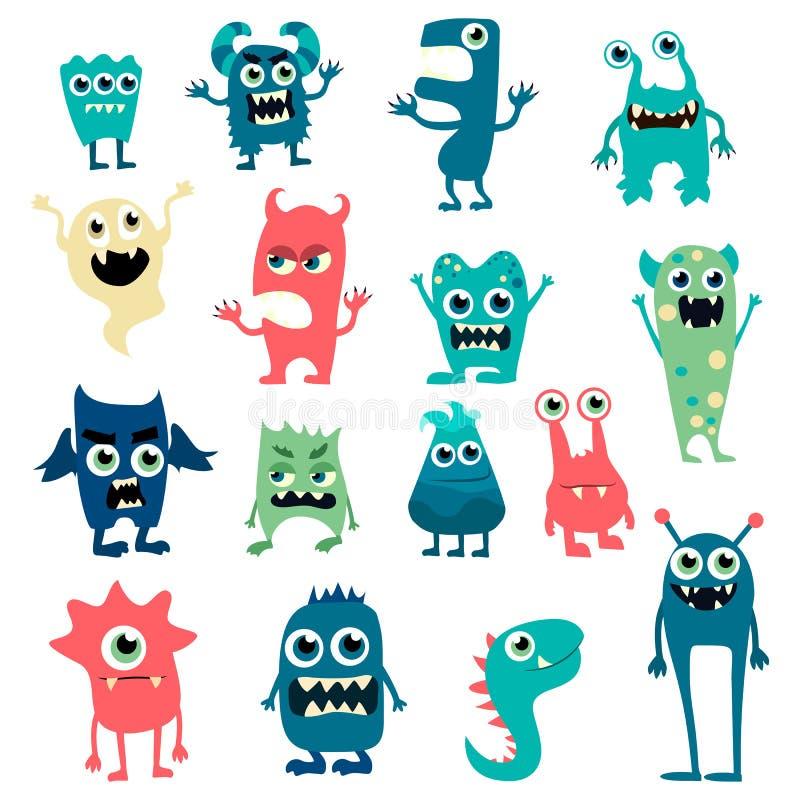 Monstres de bande dessinée réglés Monstre mignon de jouet coloré Vecteur ENV 10 illustration stock