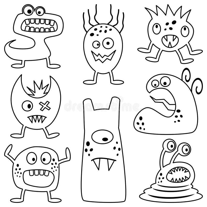 Monstres de Halloween de coloration pour des enfants illustration libre de droits