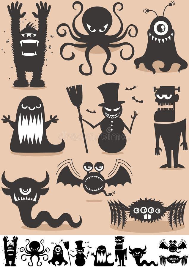 Monstres de silhouette illustration de vecteur