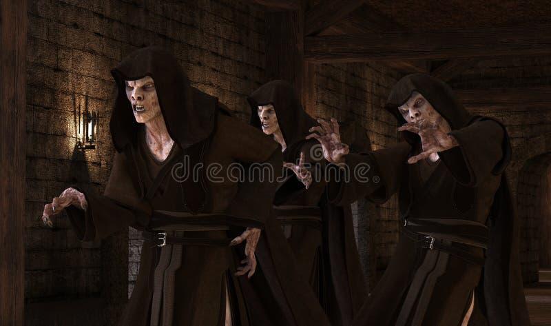 monstres de vampires de l'illustration 3D sur un fond médiéval illustration de vecteur