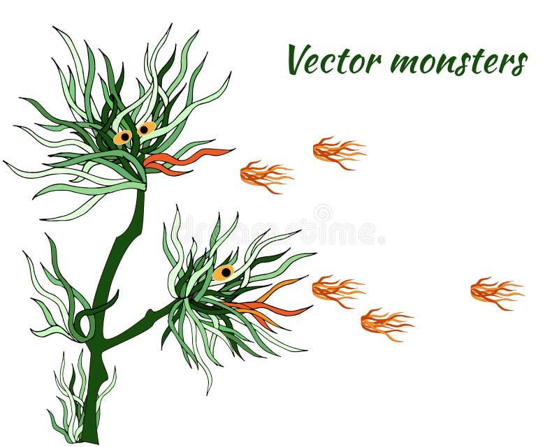 Monstres de vecteur ?trangers dragons de Feu-respiration des usines Personnages de dessin animé des algues vertes sur un fond bla illustration libre de droits