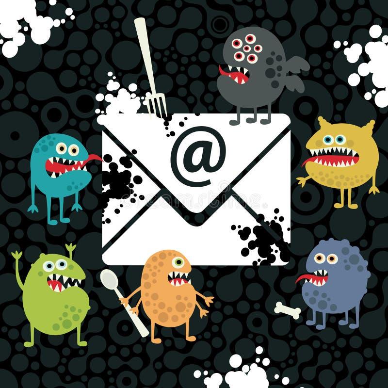 Monstres de virus dans la lettre d'email. illustration libre de droits