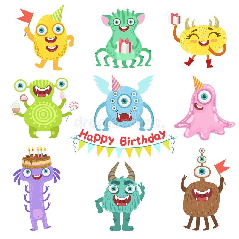 Monstres doux heureux avec des objets de fête d'anniversaire illustration libre de droits