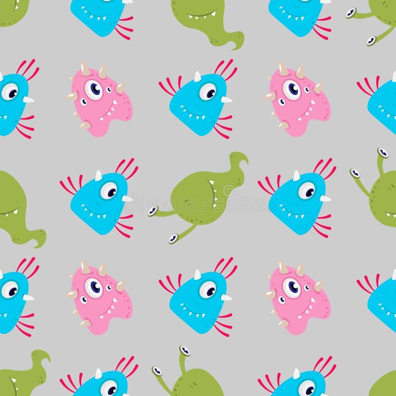 Monstres drôles multicolores étranger de bande dessinée ou modèle sans couture de bactérie illustration de vecteur