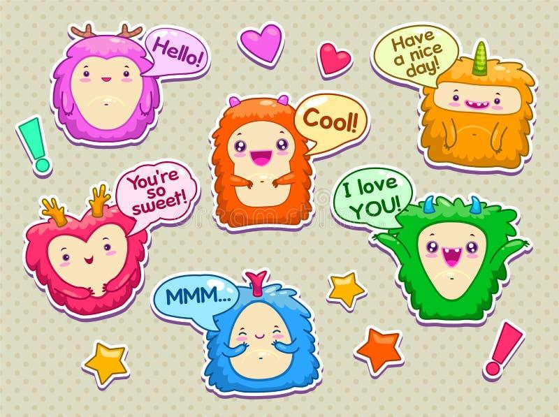 Monstres drôles avec des bulles de la parole illustration stock