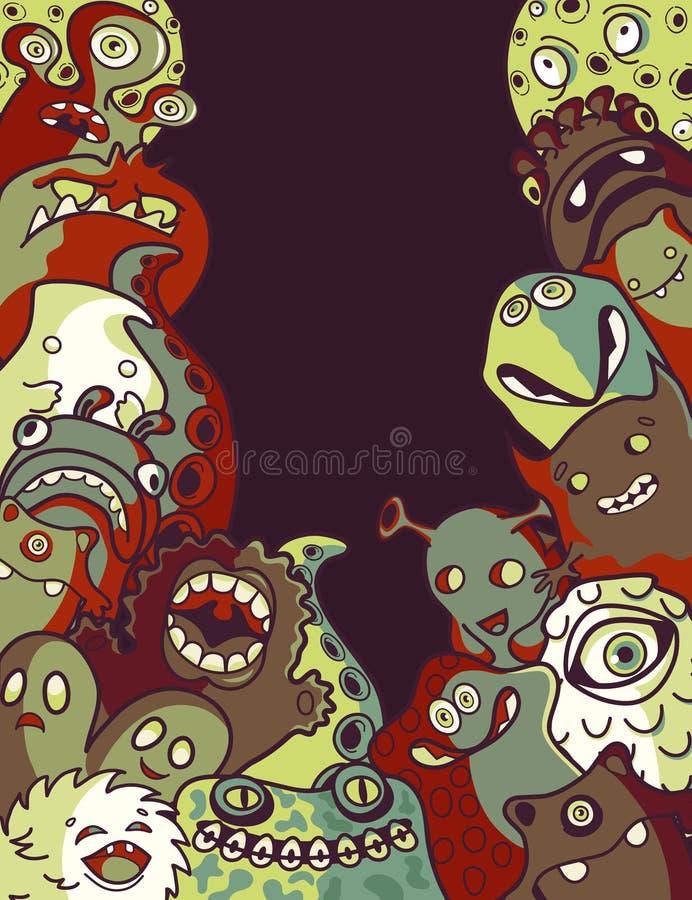 Monstres et étrangers illustration de vecteur